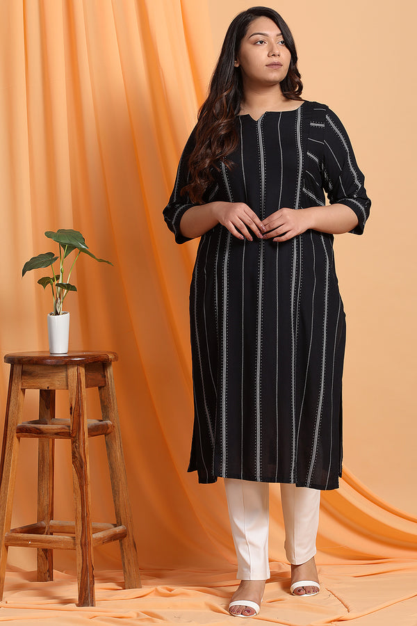 Black White Print Kurta