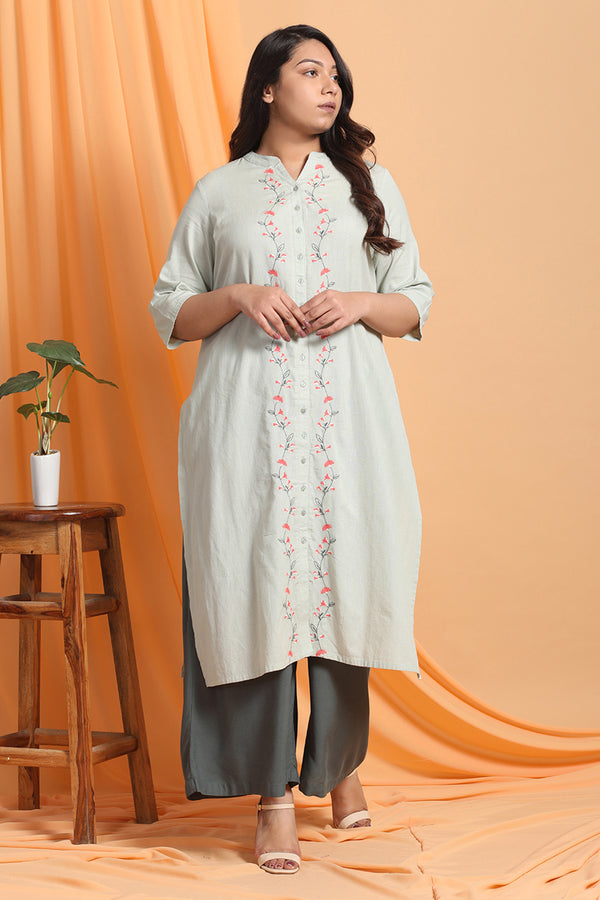 Tea Green Embroidered Front Placket Kurti