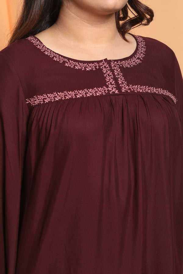 Plum Embroidered Top