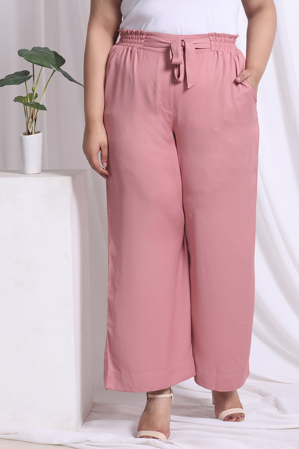 Dark Rose Tie Detail Pants