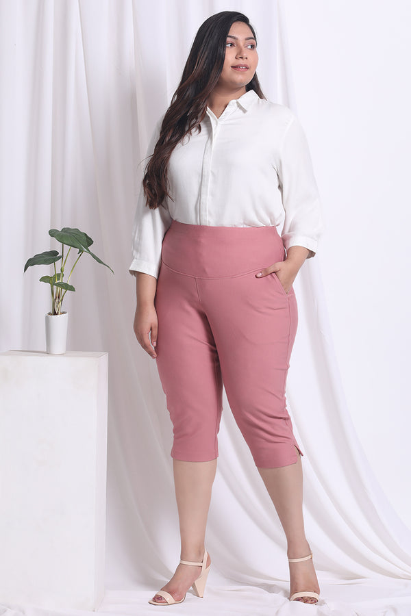 Dark Rose Tummy Tucker Crop Pants