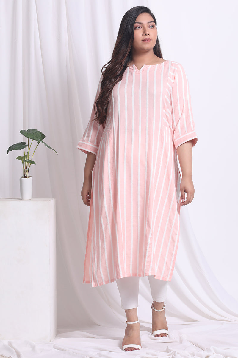 Peach White Self Work Kurta