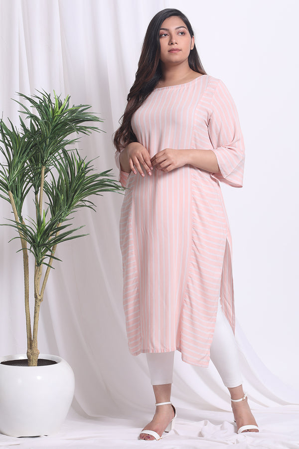 Peach Grey Stripe Kurti