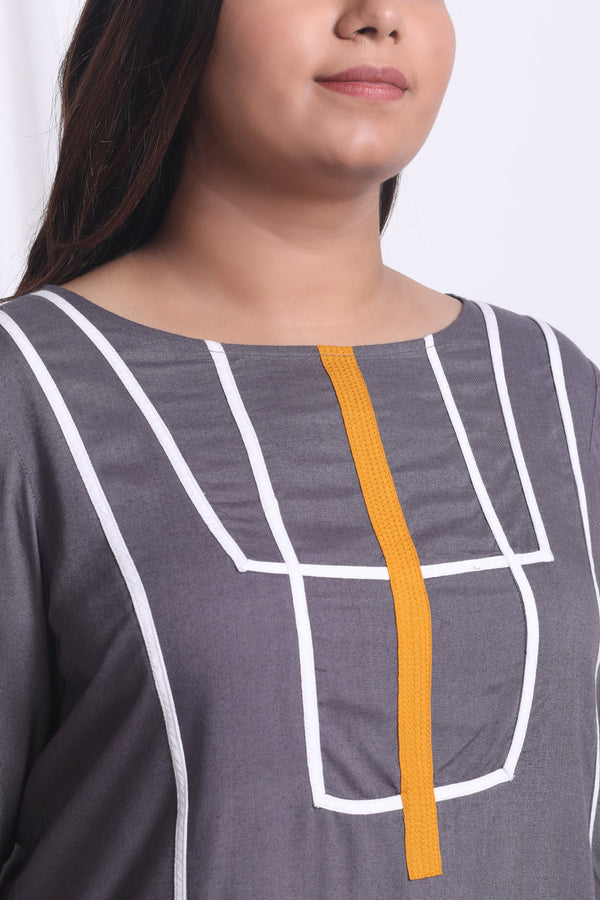 Grey Geometric Pattern Top