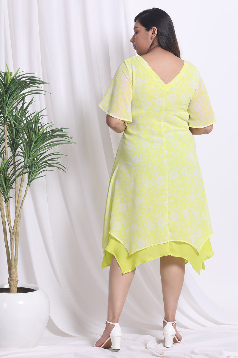 Lemon Printed Waist Tie Dress