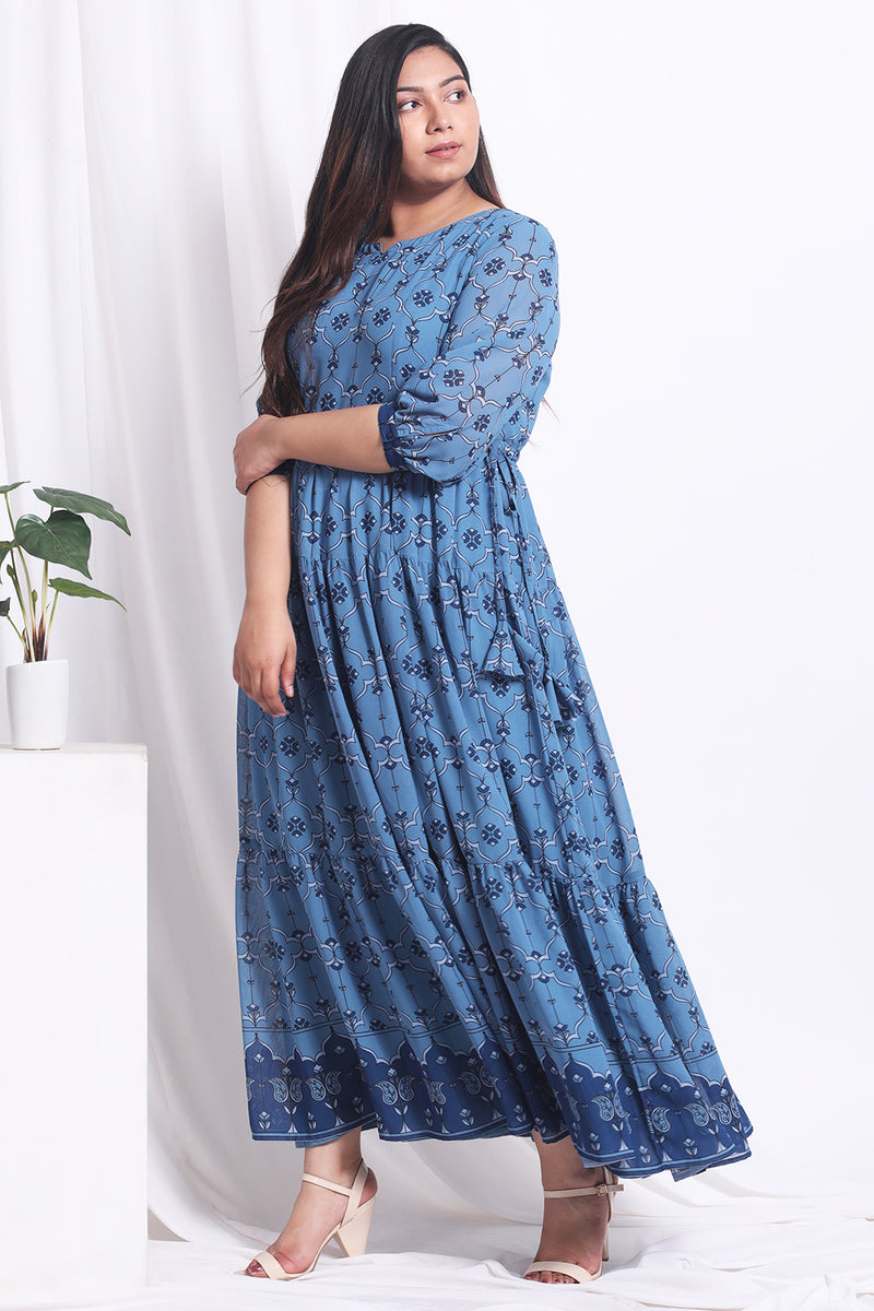 Blue Ethnic Printed Tiered Dress