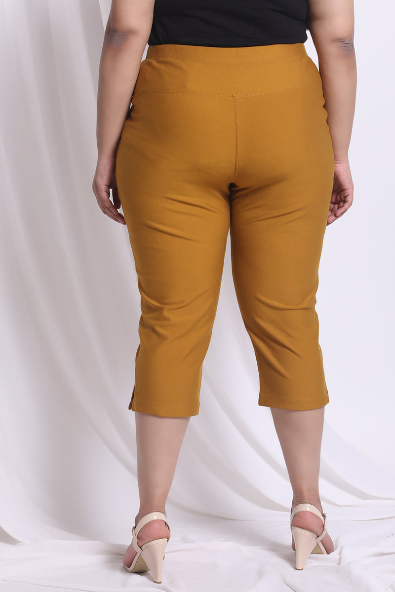 Mustard Tummy Tucker Crop Pants