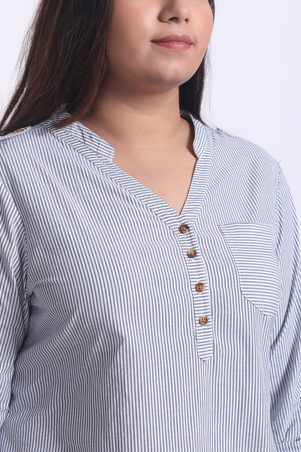 Stripe Button Down Basic Top