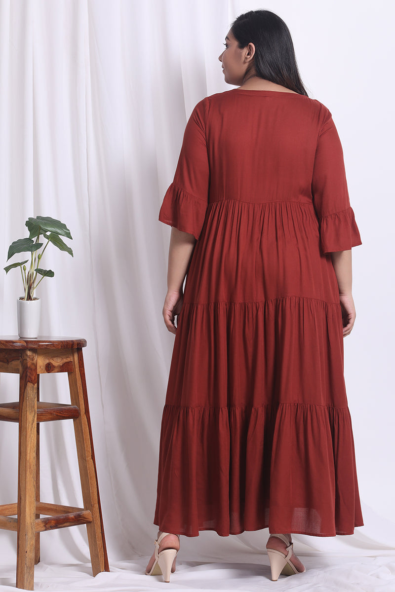 Rust Tier Tassle Dress