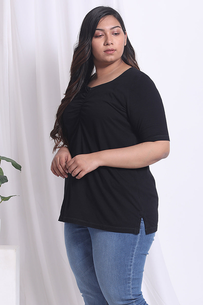 Black Sweetheart Neckline Top