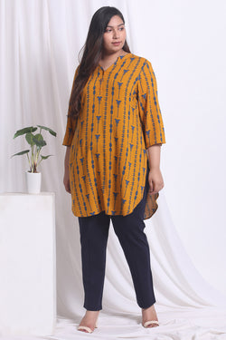 Yellow Print Longline Top