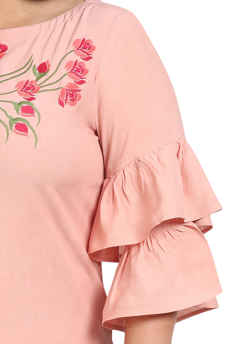 Rose Floral Embroidery Frill Sleeve Kurti