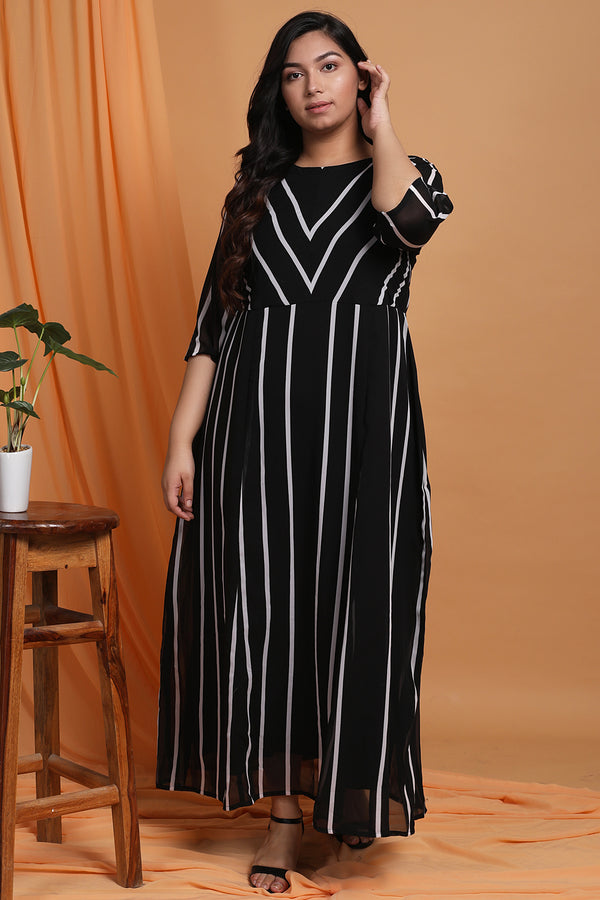 Black Stripe Maxi Dress
