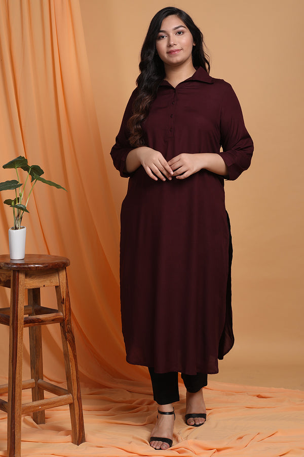 Plum Purpule Roll Up Sleeve Round Hemline Kurti