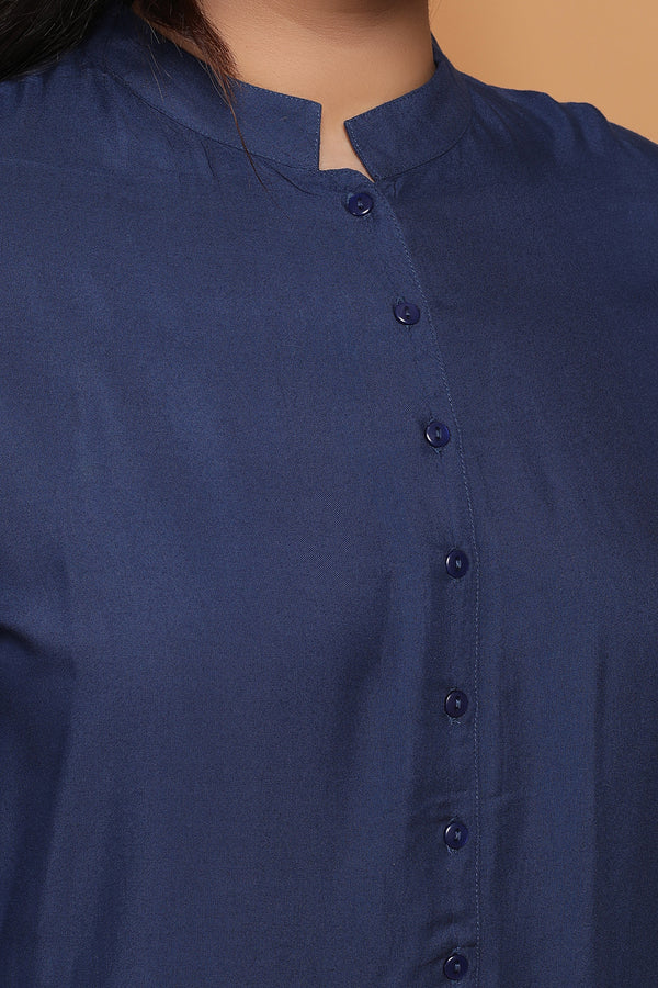 Navy Blue Button Down Peplum Shirt