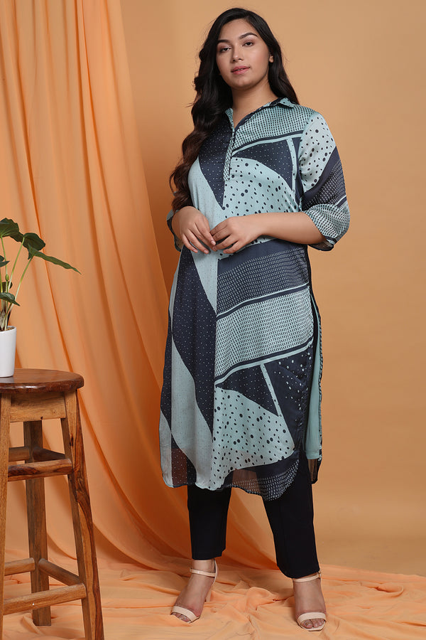 Blue Satin Chiffon Collar Kurta