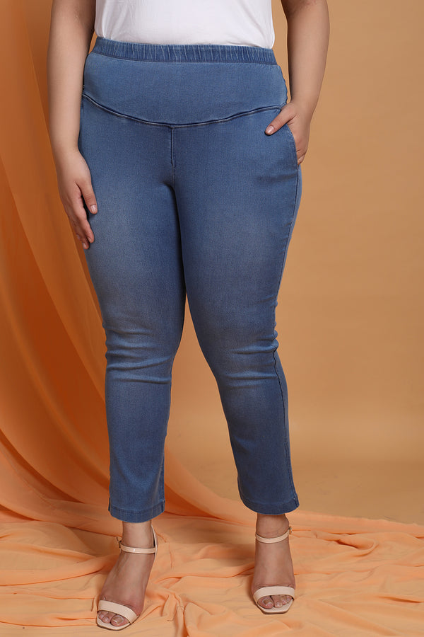 Sky Wash Tummy Shaper Straight Fit Denim