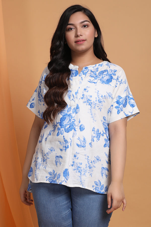 Blue Floral Print Drop Shoulder Top