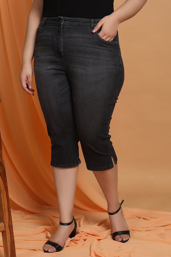 Black Denim Capri