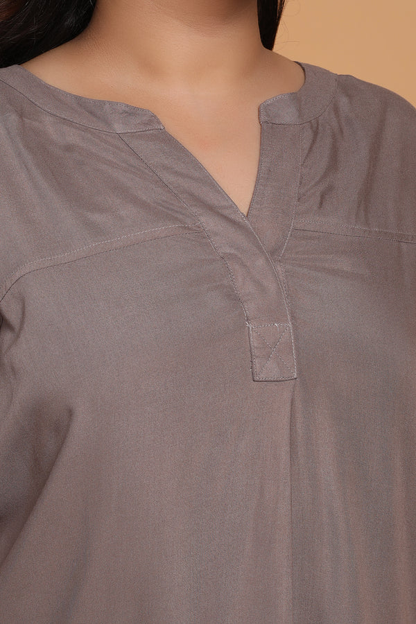 Grey Drop Shoulder Blouse