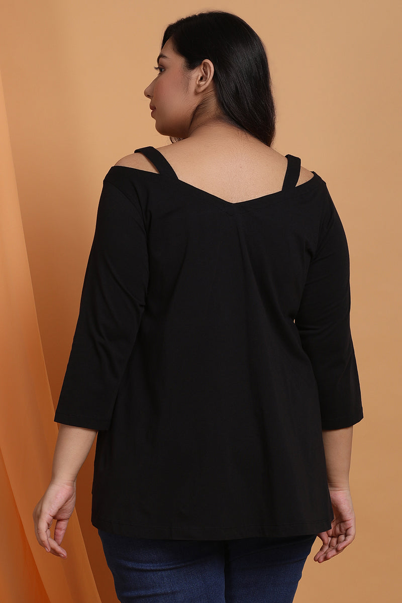 Black Scooped V Neck A Line Tee