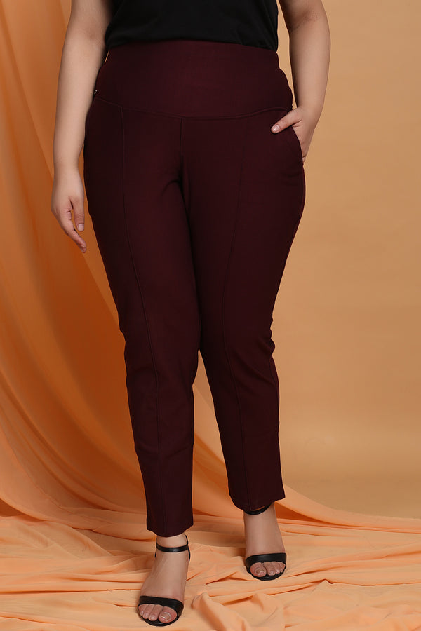 Plum Crease Seam Tummy Tucker Pants