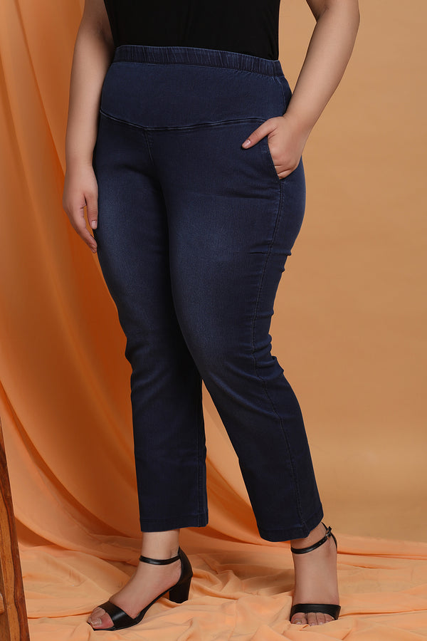 Navy Washed Tummy Shaper Straight Fit Denim