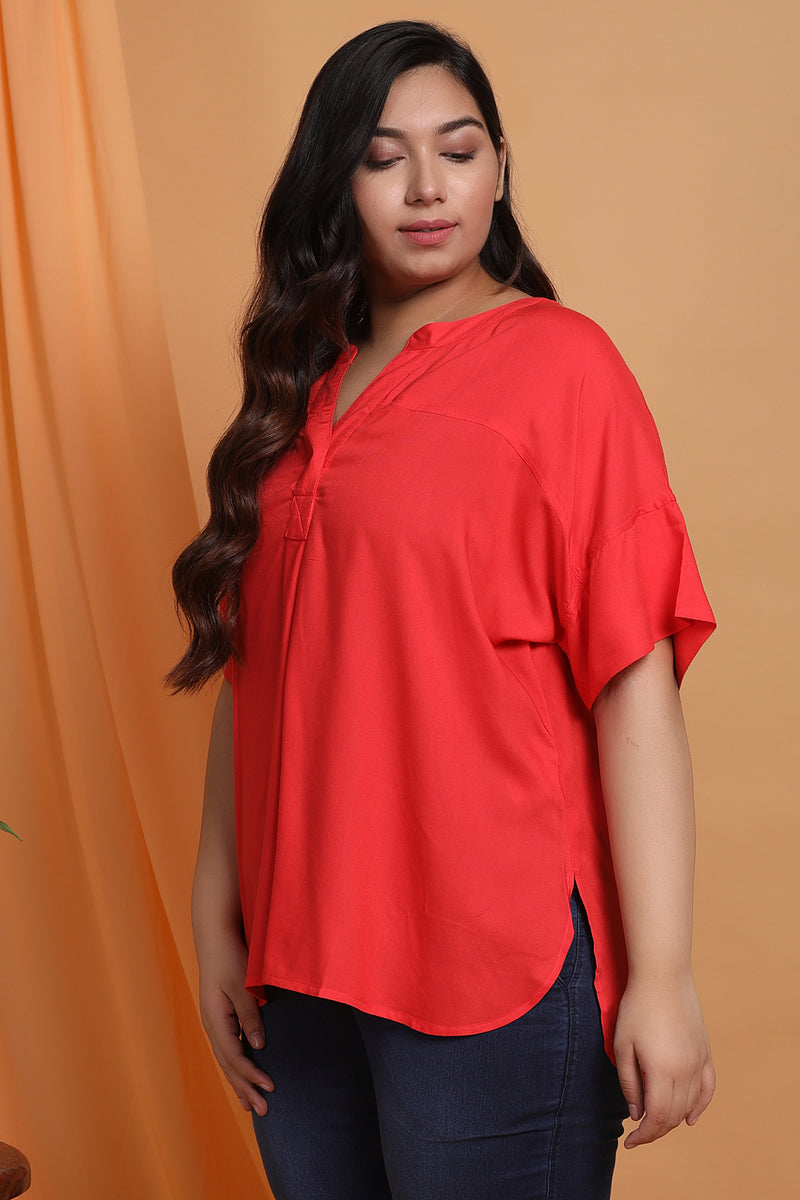 Coral Drop Shoulder Blouse