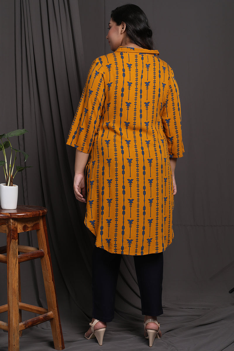Yellow Printed Longline Tunic