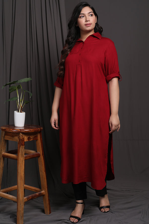 Red Roll Up Sleeve Kurti