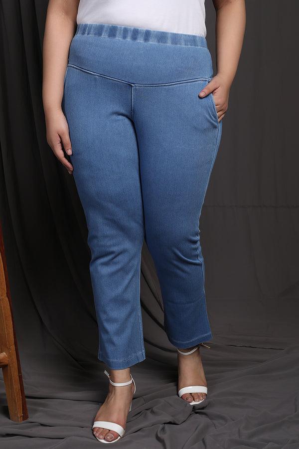 Denim Ice Wash Casual Pants