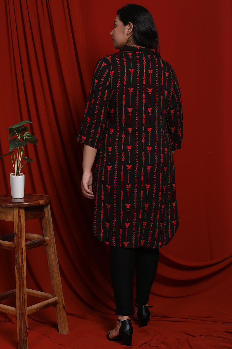 Black Printed Longline Tunic