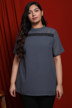Grey Mandarin Collar Lace Yoke Top