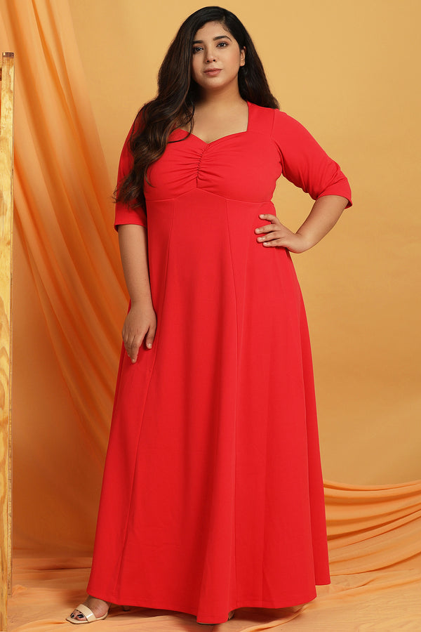 Red Gathered Yoke Detail Dress