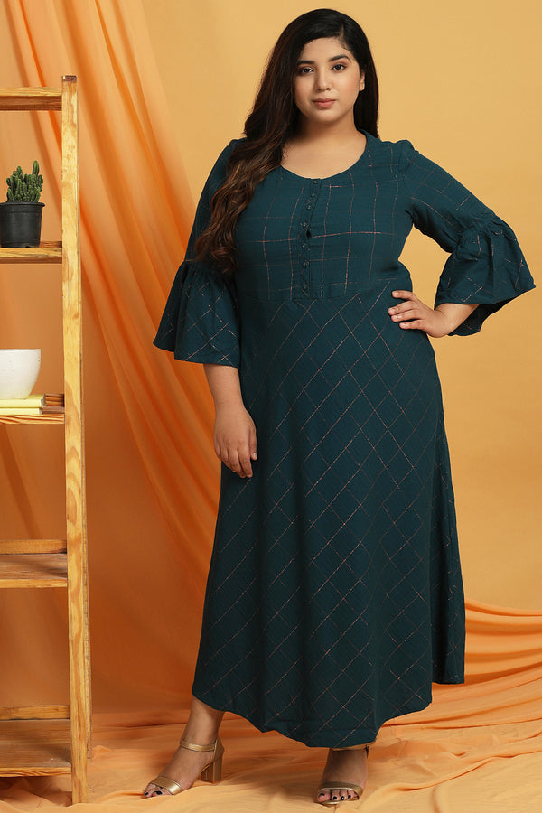 Teal Golden Check A Line Tunic