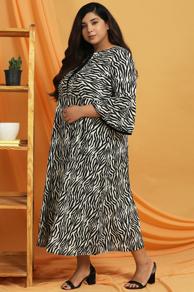 Tiger Print Frill Sleeves A Line Dress