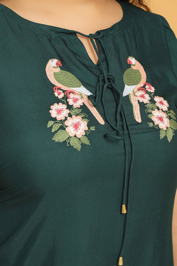 Emerald Green Bird Embroidery Layer Sleeve Top