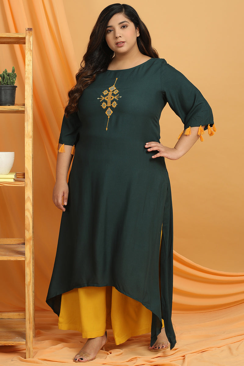 Emerald Green Embroidered Handkerchief Hemline Kurti