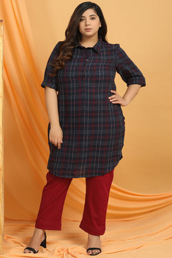 Maroon Navy Check Longline Shirt