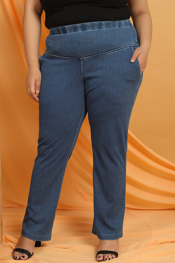 Denim Mid Wash Casual Pants