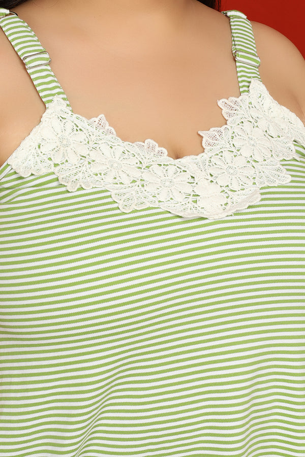 Green Lace Detail Cami Top