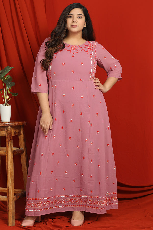 Rose Printed Ethnic Dress
