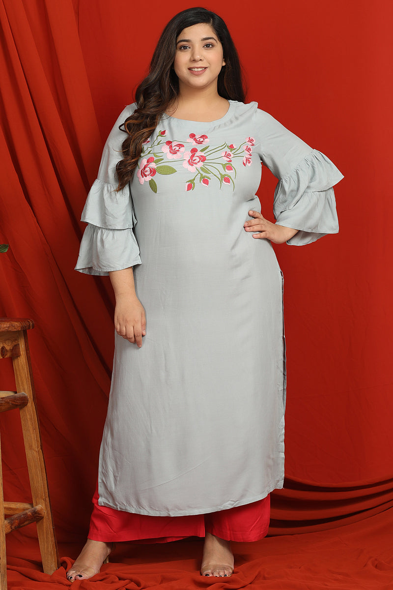 Ice Blue Floral Embroidery Frill Sleeve Kurti