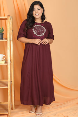 Plum Embroidery Detail Full Length Dress