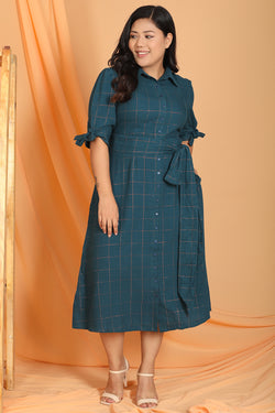 Teal Blue Check Tie Detail Dress