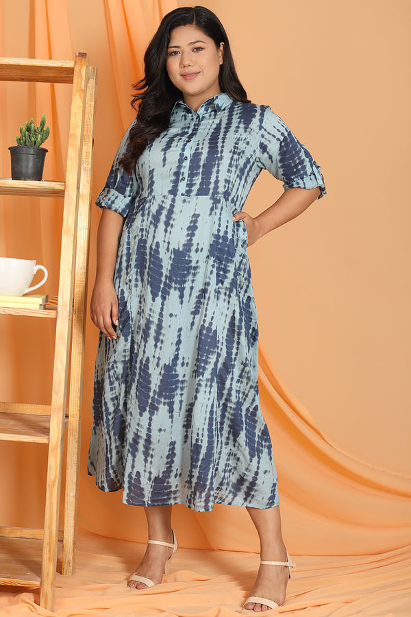 Blue Tie & Dye Print Full Length Dress
