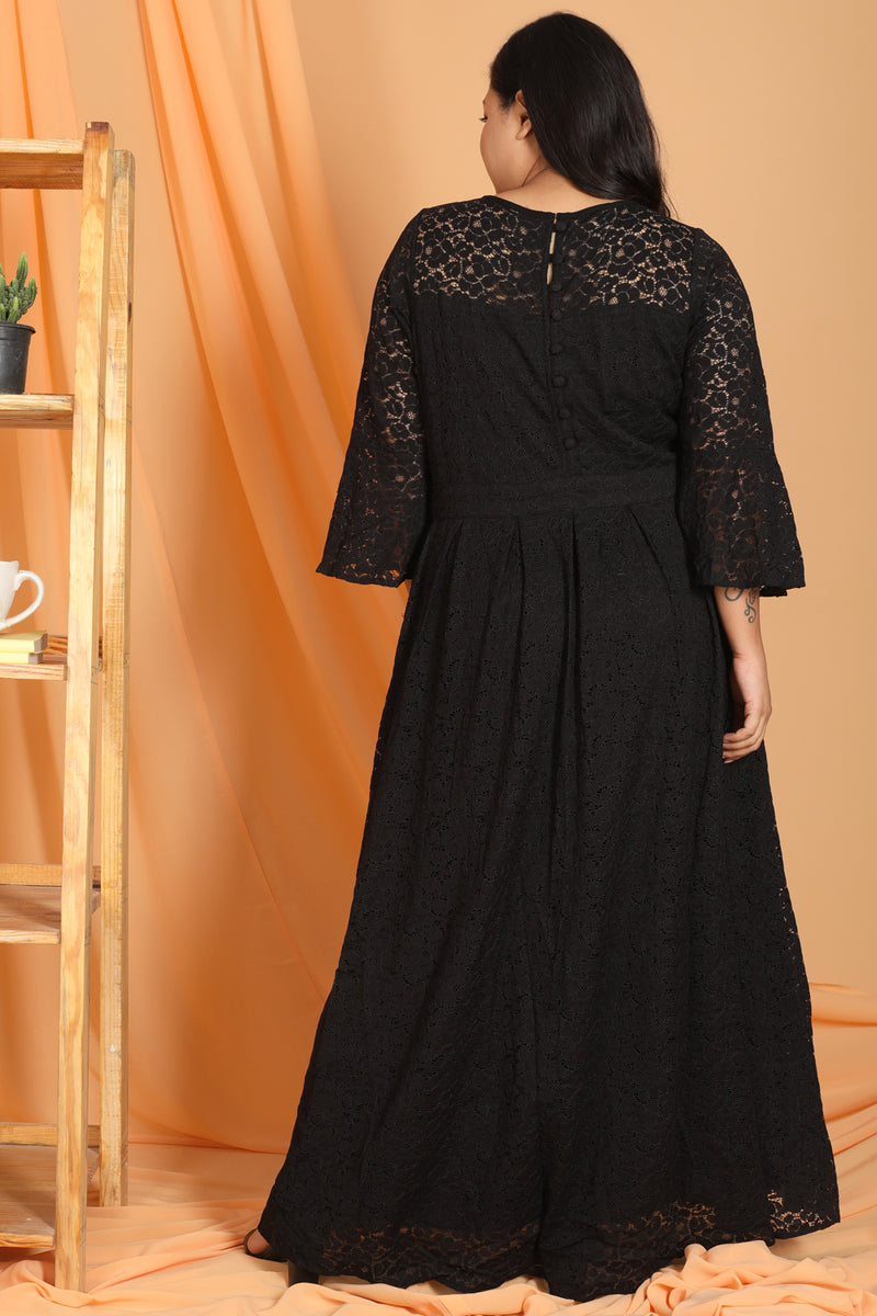 Black Lace Box Pleat Long Dress