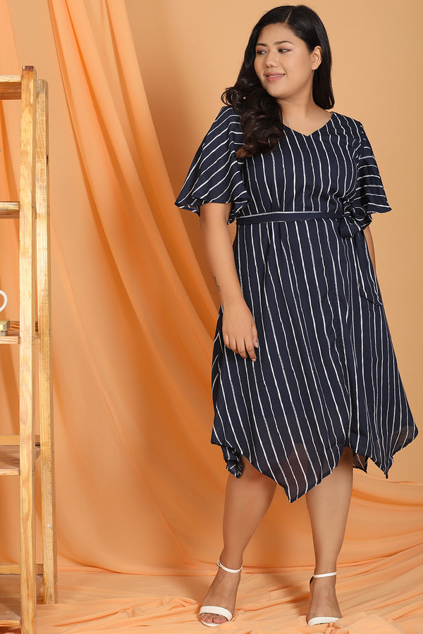 Navy Stripe Waist Tie Dress