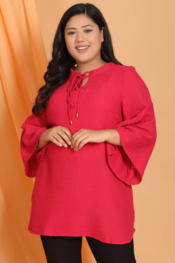 Ruby Pink Mandarin Collar Tie Neck Top
