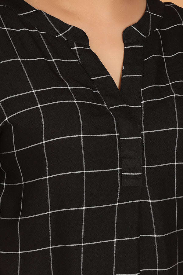 Black White Check Drop Shoulder Blouse